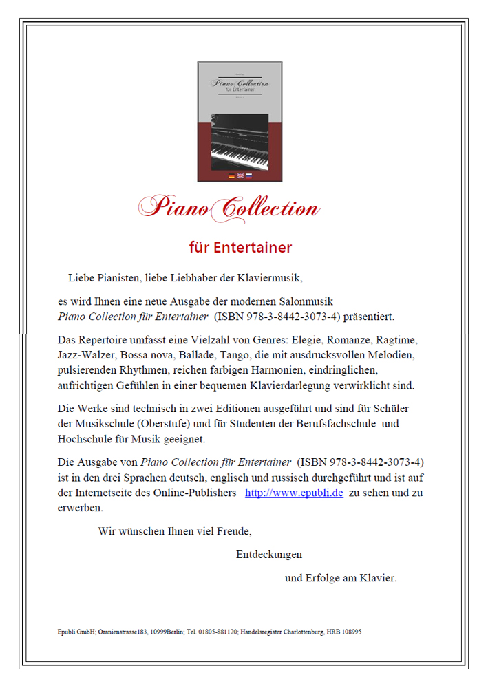 Piano Collection für Entertainer, Moderne Komponisten Klavier, Moderne Klaviermusik, Zeitgenössische Komponisten, Salonmusik für Klavier, Salonmusik Noten, Romantische Klaviermusik, Noten für Klavier, Moderne Stücke für Klavier, Wunderschöne Pianomusik - Piano Collection for Entertainer, Notenversand - Piano Collection for Entertainer, Notenlink-shop Piano Collection für Entertainer, Musikhaus Noten, Musikhandel, Noten online